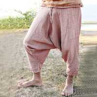 Men's Casual 100% Cotton Loose Drawstring Crotch Pants