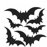 Creative Halloween Dark Bats PVC Waterproof Wall Sticker Removable Vinyl Art Mural Decoration Stickers Environmental Protection Halloween Wall Sticker Window Home Decoration Decal Decor