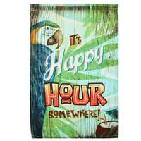 12x18 Inch Spring Parrot Happy Hour Garden Flag Mini Yard Banner Display Home Decorations
