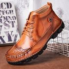 Acheter Genuine Leather Spicing Shoeface Large Size Hand Stitching Soft Sole Casual Ankle Boots