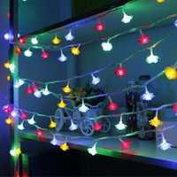10M 100 LED Rose Shape Light String 220V Color Changeable Curtain Light Home Decor Christmas