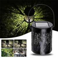 Solar Powered Vintage Metal Camping Lantern LED Light Outdoor Garden Landscape Yard Lamp