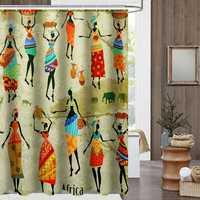 Waterproof Bathroom Curtain Custom Distinctive Cartoon African Woman Pattern Bathroom Shower Curtain