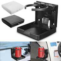 Adjustable Folding White Black Drink Holder Boat Marine Caravan Car Cup ABS Bracket