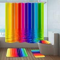 Water Lines Rainbow Polyester Shower Curtain Bathroom Curtain 3D Printing Water-Proof Bathroom Decor