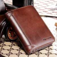 Men Genuine Leather RFID Blocking Secure Tri-fold Wallet