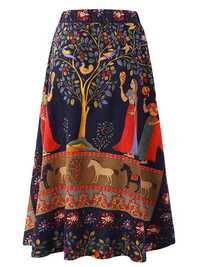 O-NEWE M-5XL Casual Women Ethnic Style Print Skirt