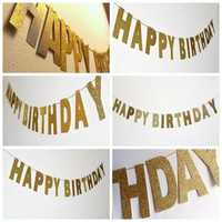 3m Gold Sparkly Glitter Banner Happy Birthday Banner Glitter Party Decor Photo Backdrop
