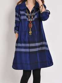 Casual Women Loose Plaid Pleated Long Sleeve Shirt Dress