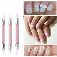 3pcs Silicone Double End Nail Art Carved Pen Hollow Engraving Painting Dotting Pens