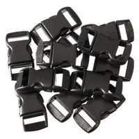 12Pcs Black Plastic Curved Release Clasp Buckles Umbrella Rope Bracelet Buckles