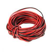 LUSTREON 10M Tinned Copper 22AWG 2 Pin Red Black DIY PVC Electric Cable Wire for LED Strip Lighting
