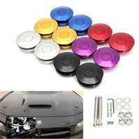 2 X Universal Push Button Billet Hood Pins Lock Clip Kit Car Quick Latch Bonnet