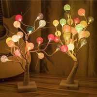 50CM/60CM Battery USB Powered LED Tree Cotton Ball Table Night Light for Bedroom Christmas Decor