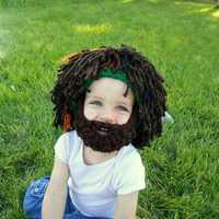 Halloween Beard Hair Shape Woolen Knitted Hat Spoof Whiskers Hat Adult Children