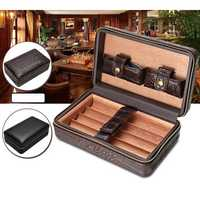 Outdoor Portable Travel Storage Box Leather Cedar Lined Protector Case Humidor With Cutter