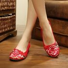 Meilleurs prix Big Size Mary Janes Chinese Embroidered Flower Flat Shoes Linen Slip-ons