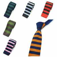 PenSee Mens Male Neckties Casual Thick Stripe Plaids Slim Skinny Knitting Tie