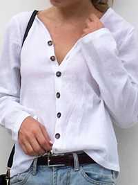 Casual Loose Button V-neck Solid Color Long Sleeve Blouse