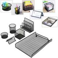 6 Pcs of Set Metal Mesh Office Desktop Organizer File Tray Pencil Storage Holder