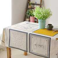 Rectangle Coffee House Cotton Linen Tableware Mat Tablecloth Desk Cover Heat Insulation Bowl Pad