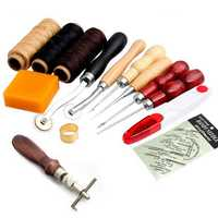 14Pcs Leather Craft Hand Stitching Sewing Tool Thread Awl Waxed Thimble Kit Hand Tools