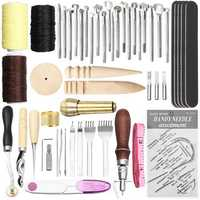 49Pcs Leather Craft Punch Carving Tool Stitching Carving Working Sewing Saddle DIY Kits