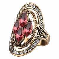 Bohemian Red Gemstone Crystal Finger Rings for Women
