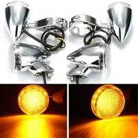 2pcs Front 2pcs Rear Motorcycle LED Turn Signal Chrome 41mm Fork Clamp For Harley