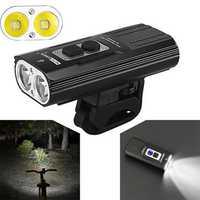 NITENUMEN X8 1800LM 2x U2 6 Modes 18650 Li-ion Battery USB Rechargeable Waterproof Cycling Bike Light