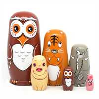6Pcs/Set Nesting Dolls Wooden Matryoshka Russian Dolls Hand Painted Baby Toy Home Decorations