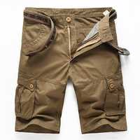 Outdoor Summer Mens Cotton Multi Pockets Solid Color Cargo Breathable Loose Casual Shorts