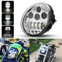 DOT 60W Motorcycle LED Headlights Hi/Lo Beam DRL For Harley Davidson VROD VRSC