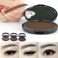 Natural Long-Lasting Waterproof Eyebrow Stamp Brwon Grey Eyes Makeup Powder Palette Tool