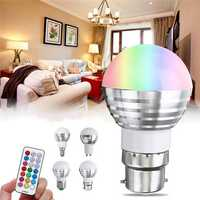 E27 GU10 E14 B22 3W RGB+White 5050 2835 SMD LED Bulb Light with Remote Control AC85-265V