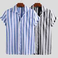 Mens Summer Short Sleeve Striped Shirts