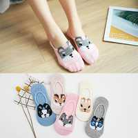 Women Cute Cartoon Dogs Antiskid Invisible Boat Sock Casual Summer Thin Breathable Socks