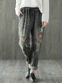 Folk Style Embroidery Elastic Waist Vintage Denim Jeans