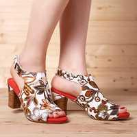 SOCOFY Handmade Flowers Hook Loop Leather Heeled Sandals