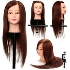 Meilleur prix Coffee 100% Real Human Hair Training Head Cutting Practice Mannequin Clamp Holder Hairdressing