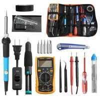 18 in 1 110V 60W Solder Iron Tools Kit Digital Multimeter with 5Pcs Solder Iron Tips Screwdriver Tweezers Plier Desoldering Pump Welding Repair Tools