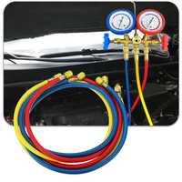 3pcs Car Air Conditioning Refrigerant Recharge Gas Pressure Gauge Hose Valve