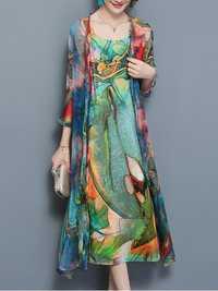 Women Floral Two Pieces Set Straps 3/4 Sleeve Vintage Dress