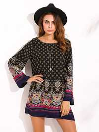 Elegant Women Tribal Baroque Print Dress