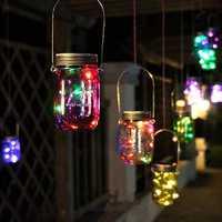 Christmas light Solar Power Hanging Glass Jar Lamp 8 LED Beads Garden Courtyard Landscape Decor Light