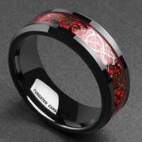 Ethnic Carbon Fiber Finger Red Dragon Pattern Rings for Men