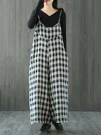 S-5XL Black and White Plaid Cotton Jumpsuits