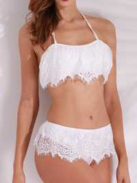 Women Sexy Ruffled Halter Push Up Lace Brazilian Bikini Set Low Waist Swimsuit