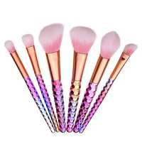 6pcs Gradient Color Soft Synthetic Hair Makeup Brushes Kit Set Cosmetic Tools Blush Powder