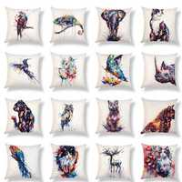 Honana PC-302 Animal Pattern Cotton And Linen Cat Dog Bird For Home Decoration Pillow Case